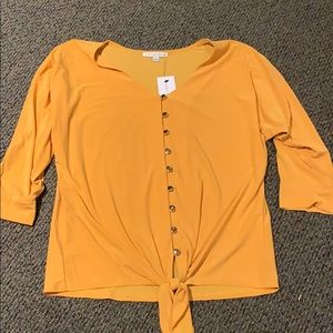 Notations NWT top size medium yellow button up